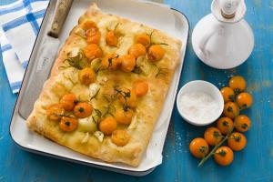 Tomato focaccia with garlic and rosemary
